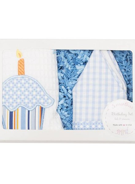 3 Marthas Blue Birthday Crown & Bib