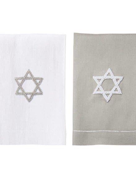 Mudpie Grey Star of David French Knot Towel
