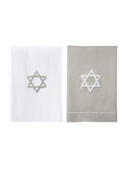 Mudpie White Star of David French Knot Towel