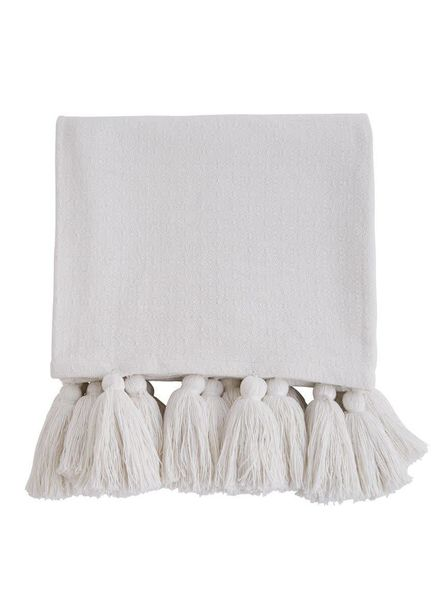 Mudpie White Tassel Throw Blanket