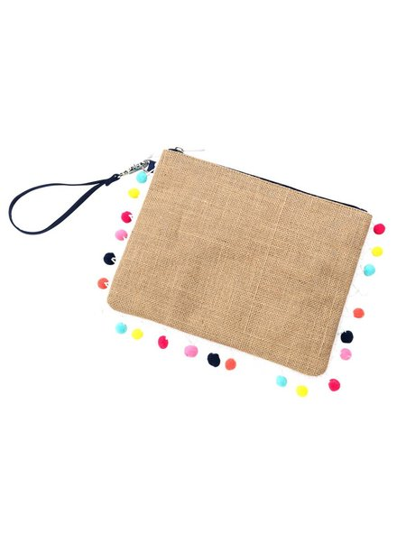 Wholesale Boutique Multi-colored Pom Pom Clutch