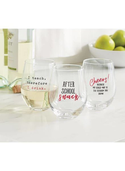 Mudpie Stemless Teachers Wine Glasses
