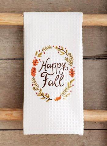 Mudpie Happy Fall Waffle Weave Towel