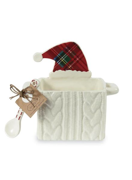 Mudpie Santa Hat Cableknit Candy Caddy