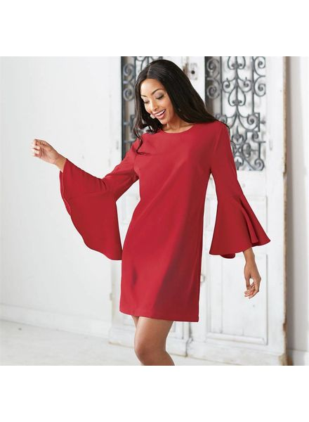 Mudpie Red Bell Sleeve Dress