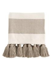 Mudpie Tan Tassel Throw Blanket W/ Monogram