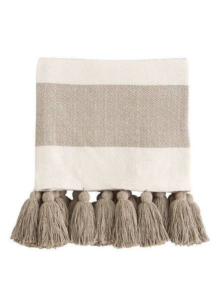Mudpie Tan Tassel Throw Blanket W/ Monogram