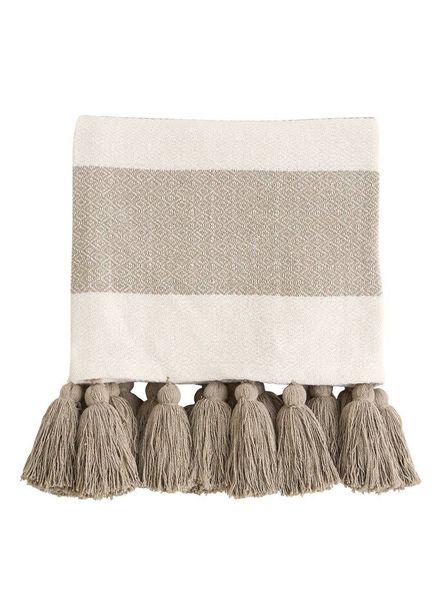 Mudpie Tan Tassel Throw Blanket