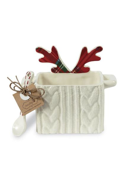 Mudpie Reindeer Cableknit Candy Caddy