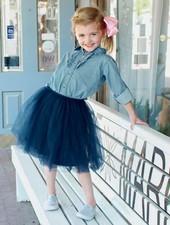 Ruffle Butts Navy Tulle Skirt