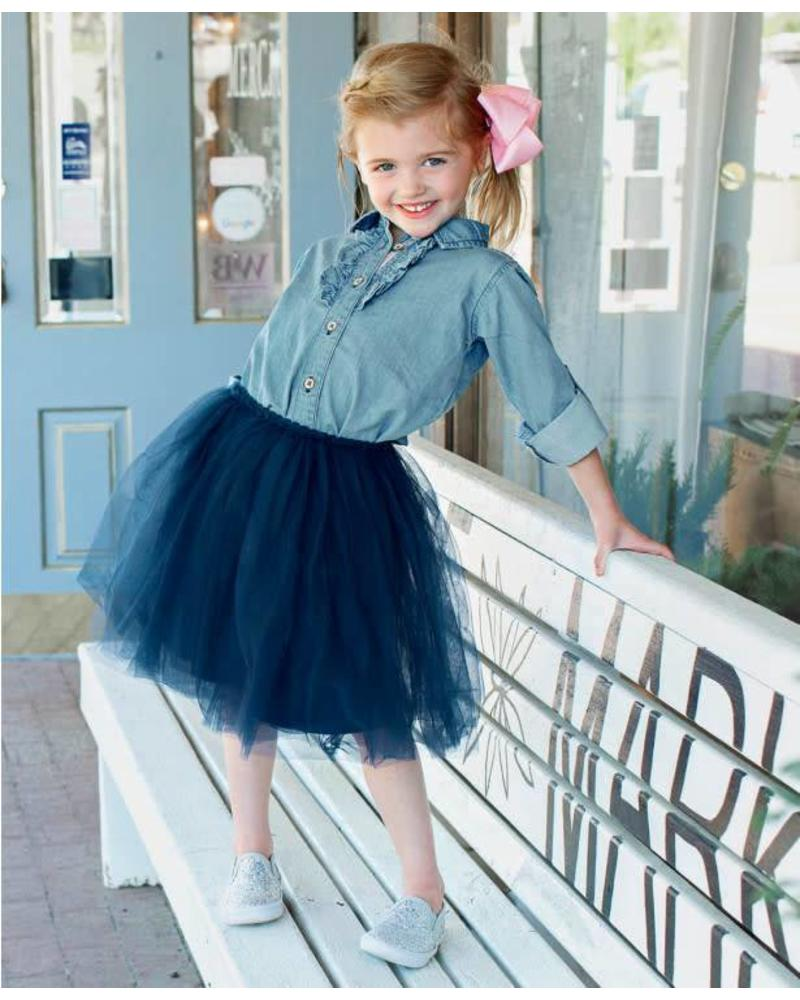 Ruffle Butts Navy Tulle Skirt