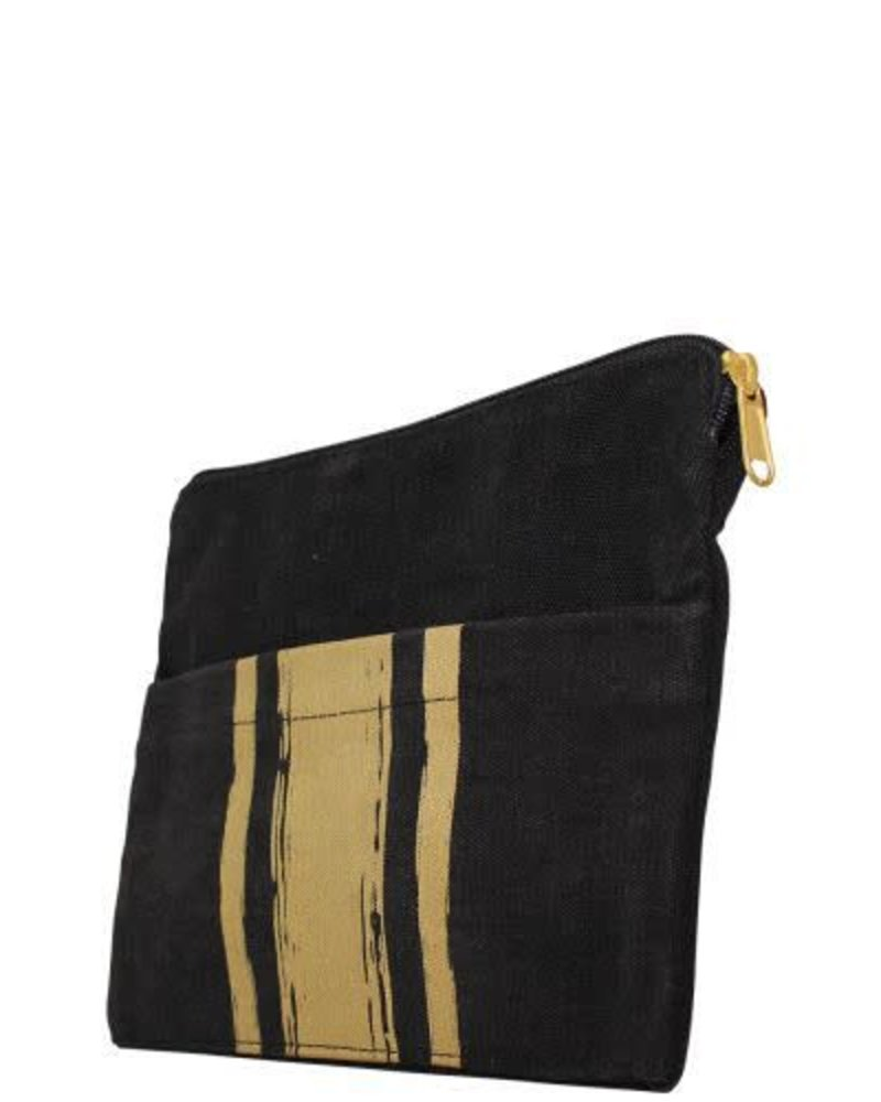 CB Station Metallic Gold on Black Canvas Clutch