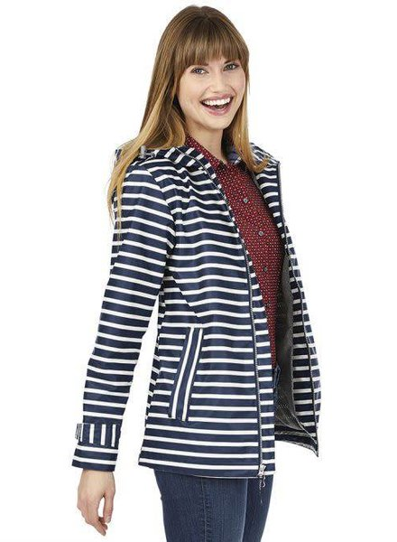 Navy Striped Rain Jacket
