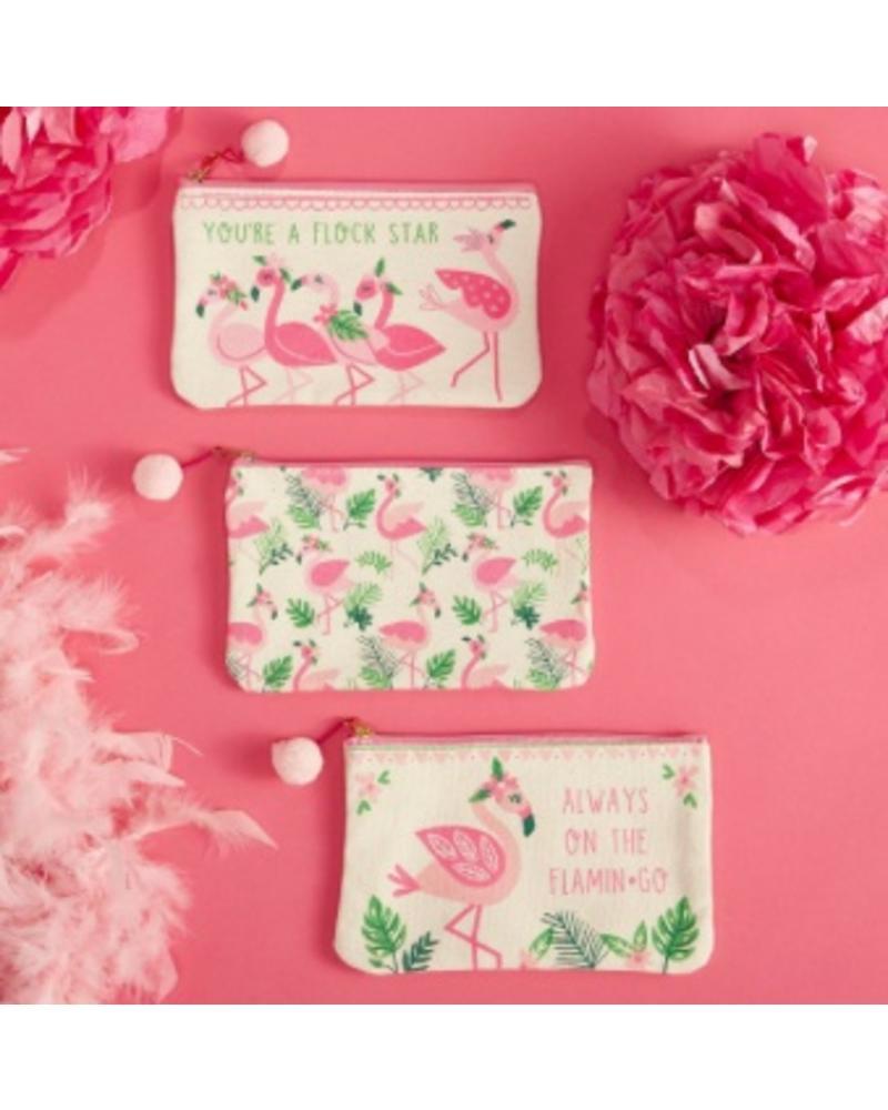 Two's Company Flamingo Zip Pouches