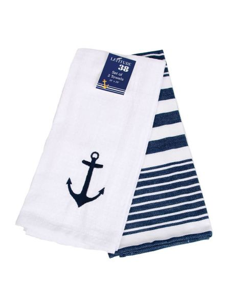 Set of 2 Anchor Dishtowels
