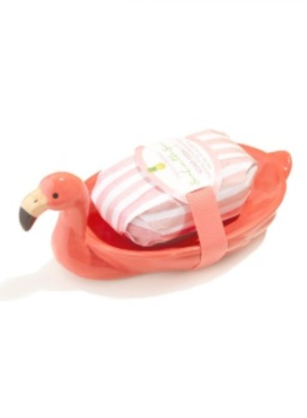 Two's Company Flamingo Soap Dish With Soap