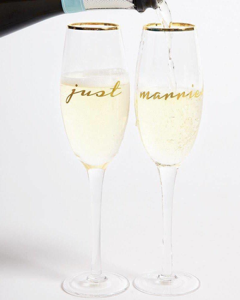 8 Oak Lane Just Married Champagne Glass Set