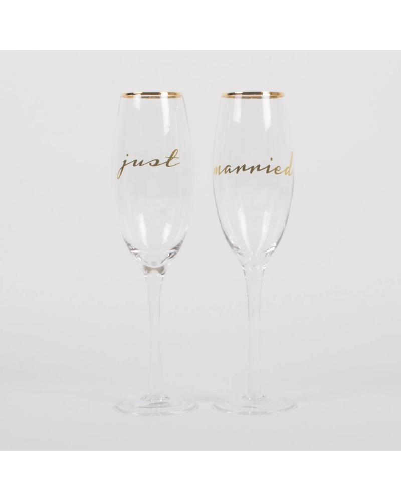 8 Oak Lane Just Married Champagne Glass Set