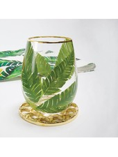 8 Oak Lane Palm Leaf Stemless Wine Glass