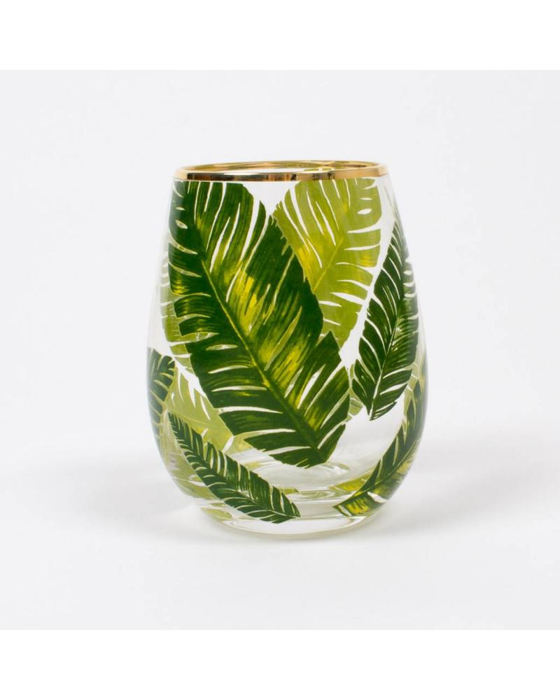 8 Oak Lane Palm Leaf Stemless Wine Glass