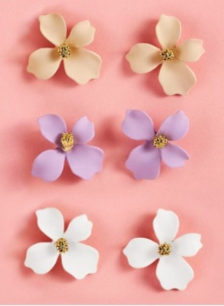 Two's Company Flower Petal Stud Earrings