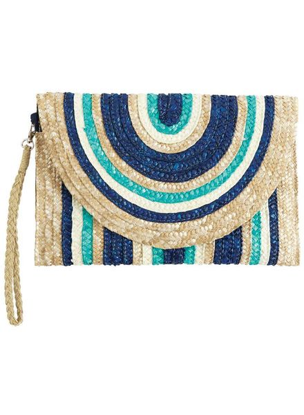 Mudpie Striped Straw Clutch