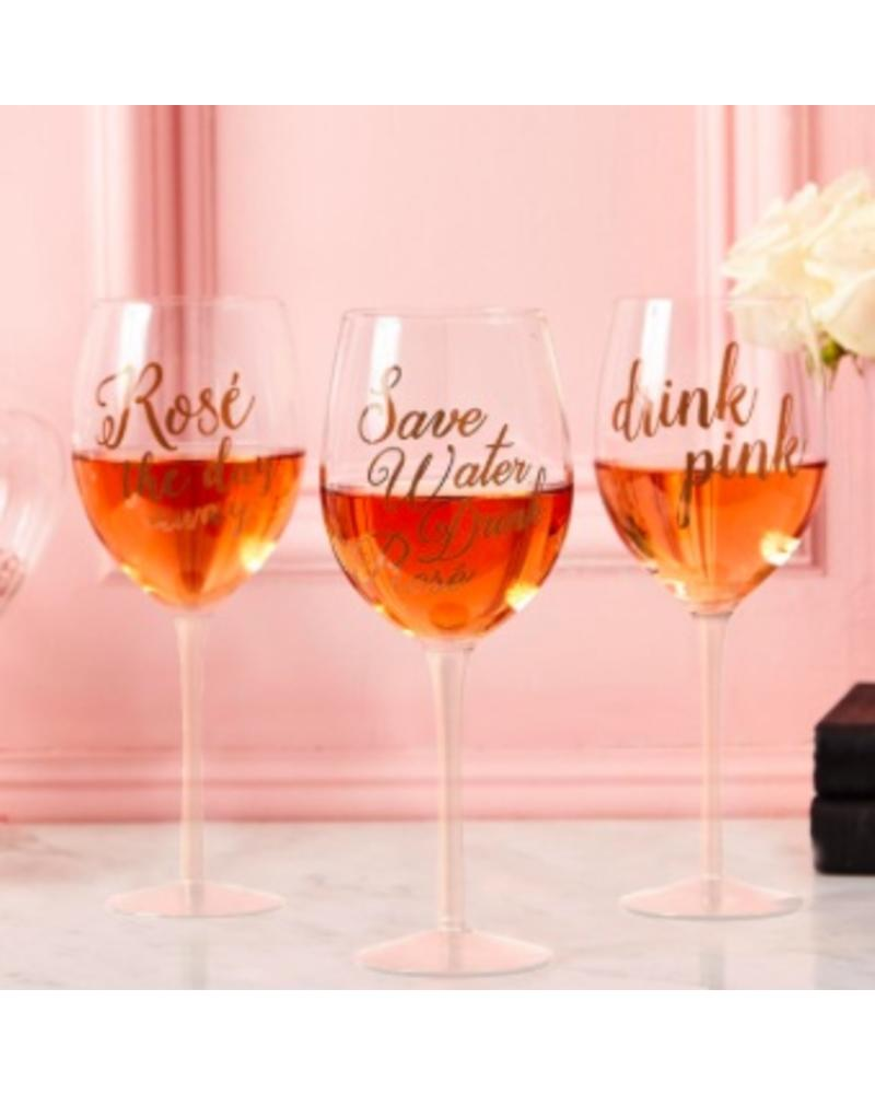 Two's Company Wine Glass With Rose Sayings