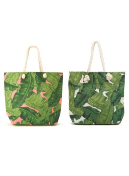 Two's Company Palm Leaf Tote Bags