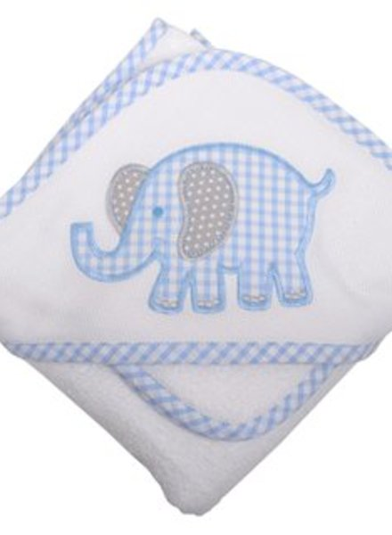 3 Marthas Blue Elephant Hooded Towel