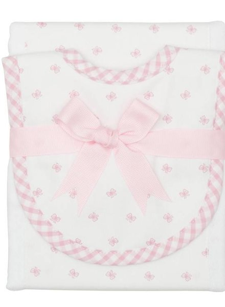 3 Marthas Pink Bow Burp/Drooler Set