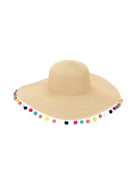 Wholesale Boutique Multicolor Pom Pom Floppy Hat