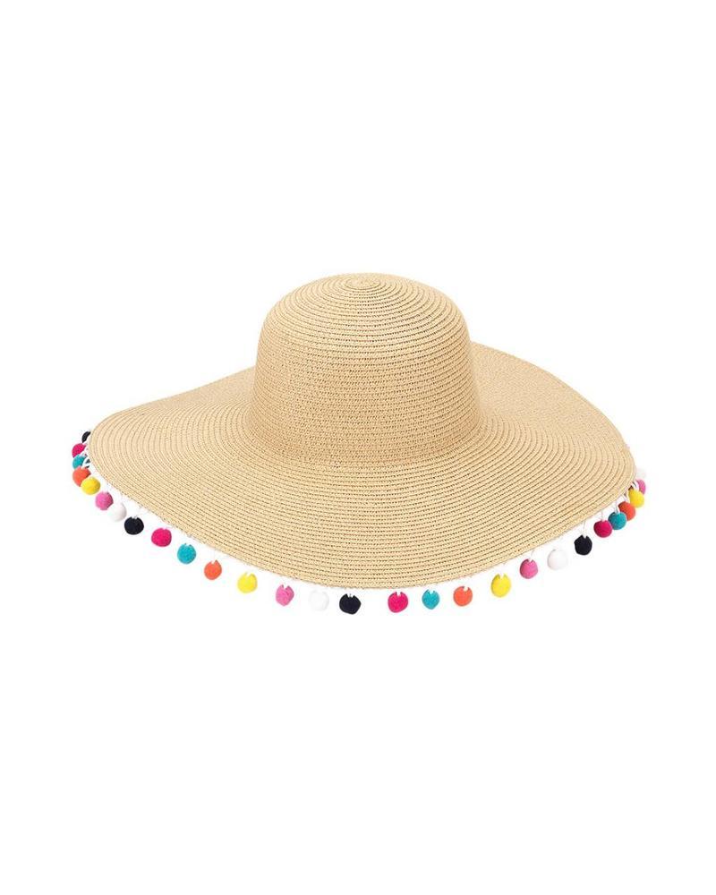 Wholesale Boutique Multicolor Pom Pom Floppy Hat