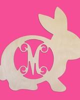 Wholesale Boutique Wood  Bunny Monogram