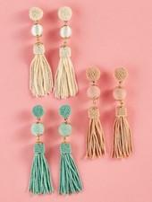 Two's Company Beaded Tassel Earrings