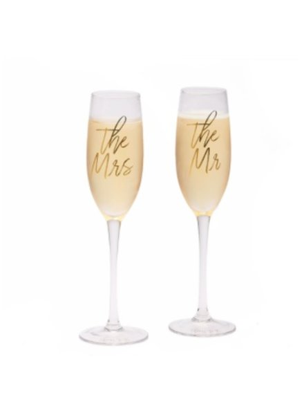 Two's Company Set of Mr. & Mrs. Champagne Flutes