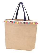 Wholesale Boutique Multicolor Pom Pom Tote