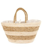 Mudpie Tan Striped Basket Tote