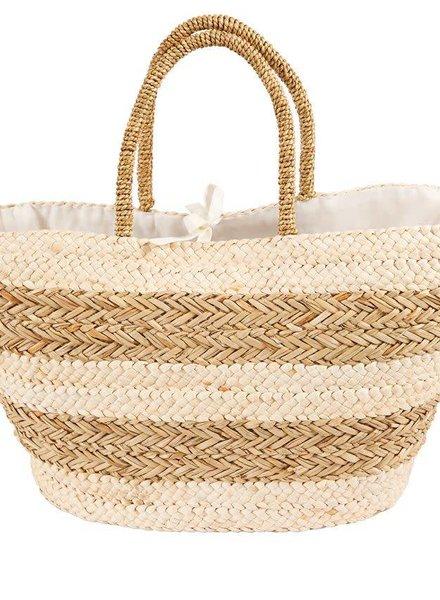 Mudpie Tan Striped Basket Tote