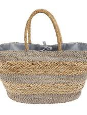 Mudpie Grey Striped Basket Tote