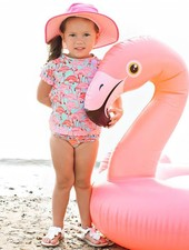 Ruffle Butts Fab Flamingo Rash Guard Bikini