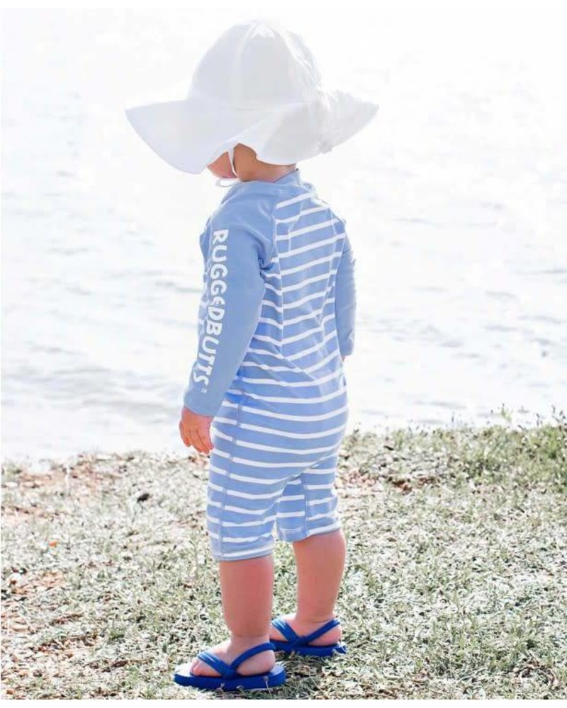 Cornflower Blue Stripe One Piece Rash Guard