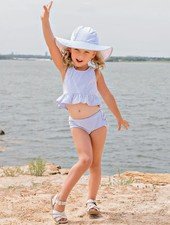Ruffle Butts Periwinkle Seersucker Swim Hat