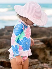 Ruffle Butts Pink Seersucker Swim Hat