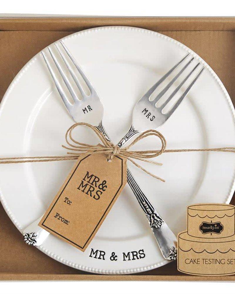 Mudpie Mr. & Mrs. Cake Plate & Fork Set