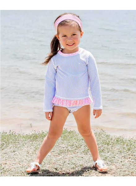 Ruffle Butts Periwinkle Seersucker Long Sleeve Rash Guard Bikini
