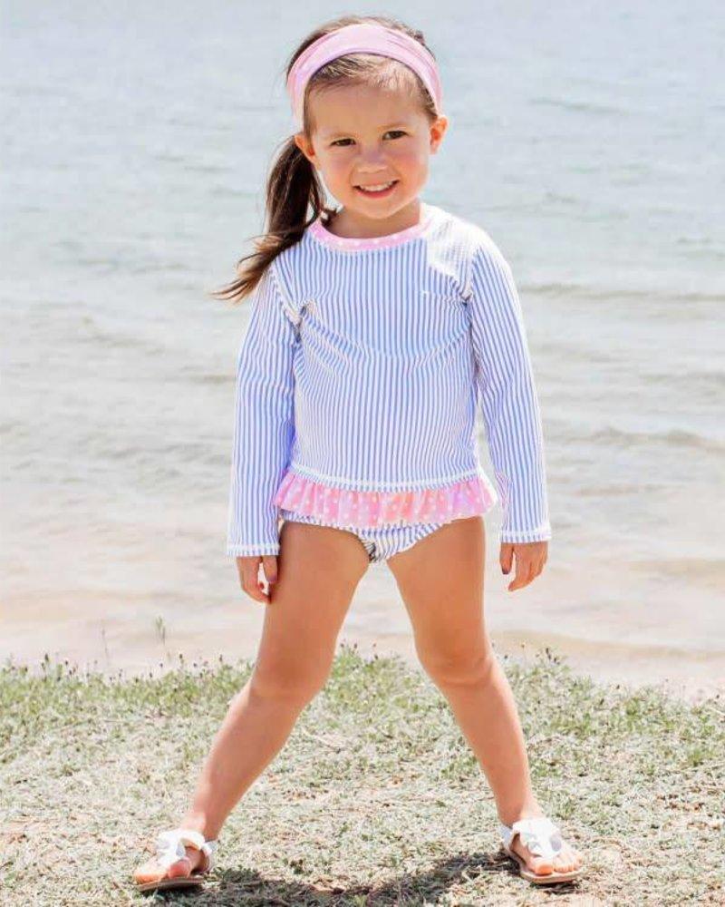 Ruffle Butts Periwinkle Seersucker Long Sleeve Rash Guard Bikini