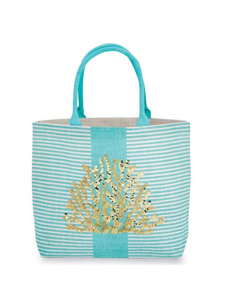 Mudpie Blue Striped Tote With Coral Sequins
