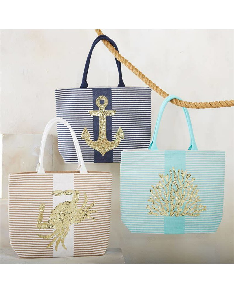 Mudpie Navy Striped Tote With Anchor Sequins