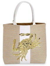 Mudpie Tan Striped Tote With Crab Sequins