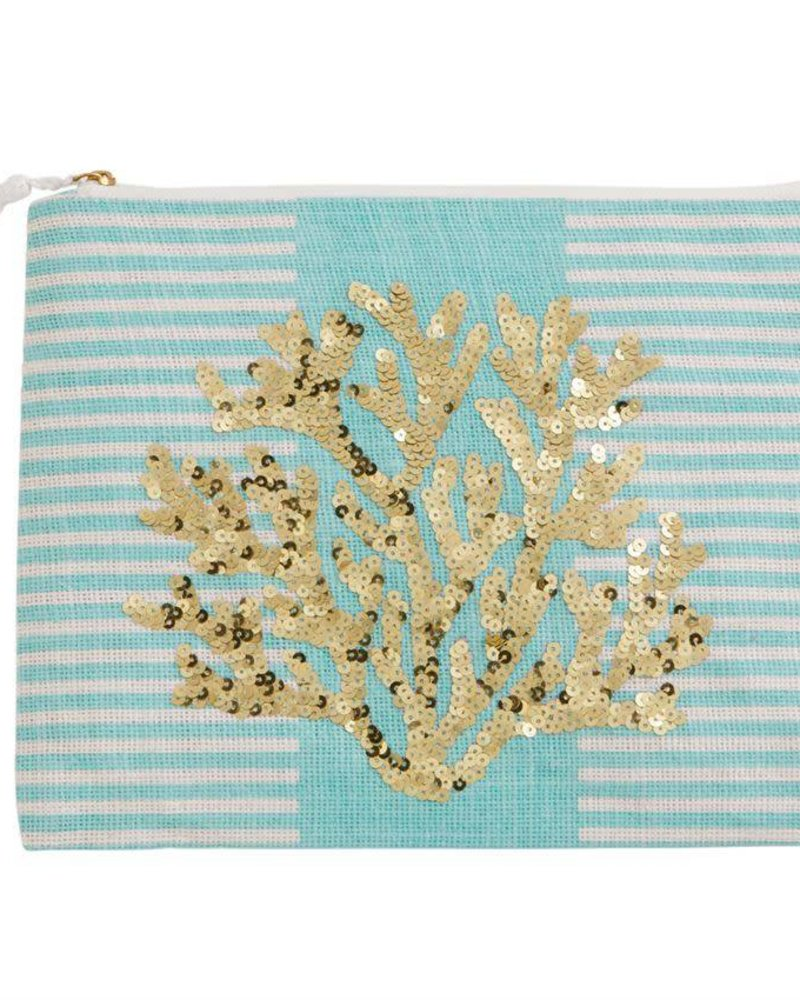 Mudpie Blue Striped Case With Coral Sequins